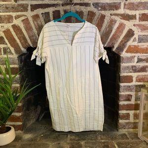Madewell cream and blue pinstripe linen dress